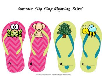 Freebie!  Summer Rhyming Flip Flops
