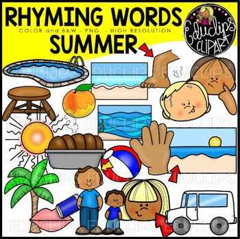 Summer Rhyming Words Clip Art Set {Educlips Clipart}