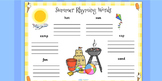 Summer Rhyming Words Worksheet