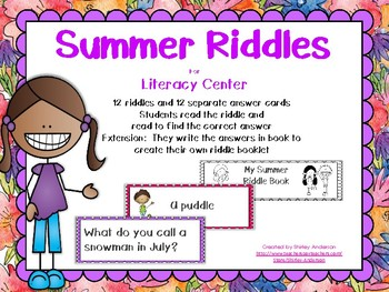 Summer Riddles Literacy Center with mini booklet