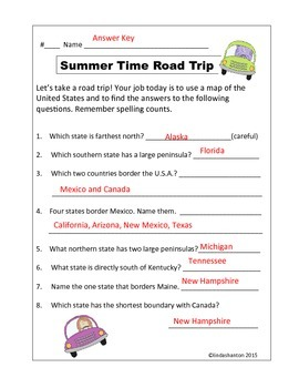 Summer Road Trip  - .U.S.A. Mapping Activity