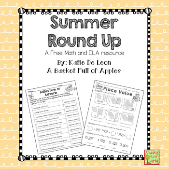 Summer Round up Freebie: Language arts and math printables
