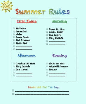 Summer Rules - Editable