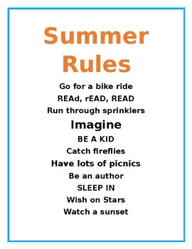 Summer Rules End Of Year By Simona Moss Teachers Pay