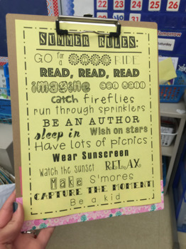 Summer Rules ~ Student Gift