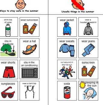 Summer Safety Boardmaker Activties