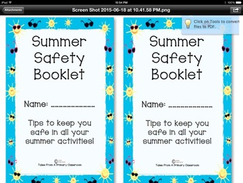 Summer Safety Workbook and Follow Up Activity
