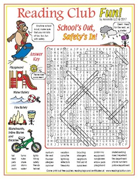 FREE Summer Safety Vocabulary Word Search Puzzle
