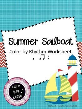 "Summer Sailboat ""Color by Rhythm"" worksheet {ta titi rest}"