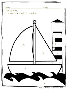 "Summer Sailboat ""Color by Rhythm"" worksheet {ta titi rest}"