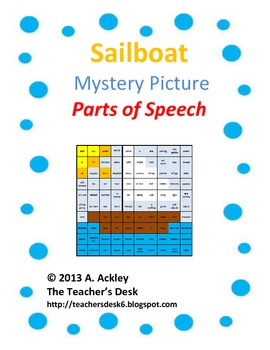 Summer Sailboat Mystery Picture Parts of Speech