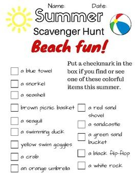 Summer Scavenger Hunt BEACH FUN