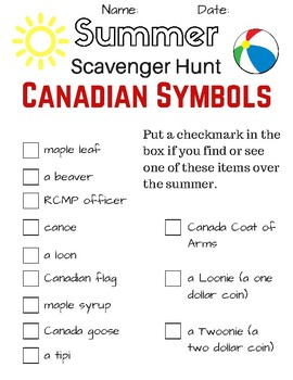 Summer Scavenger Hunt - Canadian Symbols (Celebrate Canada 150)