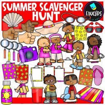 Summer Scavenger Hunt Clip Art Set {Educlips Clipart}