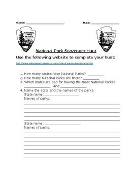 Summer Scavenger Hunt- The National Parks