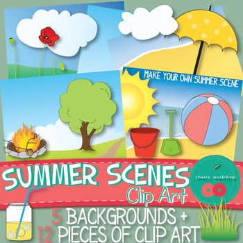Summer Scenes {Make Your Own} - Clip Art - {Commercial Use}
