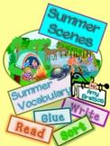 Summer Scenes Summer Vocabulary- Read, Label, Sort & Write