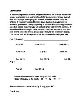 Summer Schedule Form