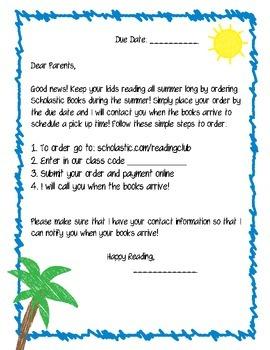 Summer Scholastic Reading Letter