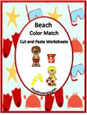 Beach Color Match Kindergarten Special Education Autism Cut and Paste Fine Motor