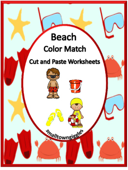 Beach Color Match Kindergarten Special Education Autism Cut and Paste Fine Motor