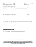 Summer School Algebra II Semester II Day 4 - Quiz 1