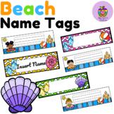 Beach Themed Name Tags- Name Plates- Locker Tags (Editable)