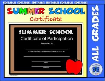 Summer School Certificate - Chalkboard Theme - Editable