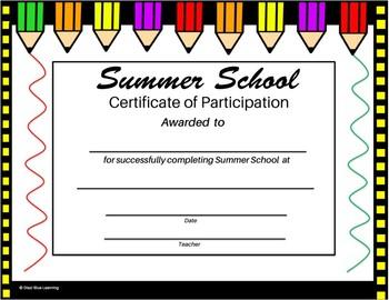 Summer School Certificate - Pencils Theme - Editable