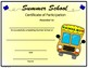 Summer School Certificate - School Bus Theme - Editable
