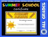 Summer School Certificate - Summer Learning Theme - Editable