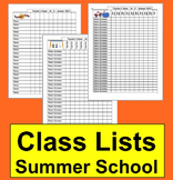 Summer School Class List Templates-3 To Choose From