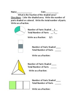 Fractions Using Shaded Shapes