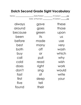 Second Grade Sight Words with Pre & Post Assessment