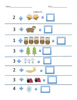 0-6 Addition with Pre and Post Assessment