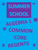 Summer School Curriculum/Review for Algebra 1 Regents Common Core