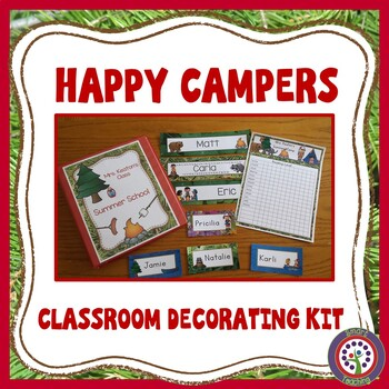Editable Camping Theme - Decorate Your Classroom Kit- Name Cards, Binder, Roster