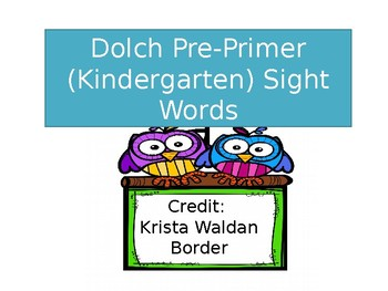 Dolch Pre Primer Sight Words Timed Assessment