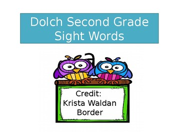 Dolch Second Grade  Sight Words Timed Assessment