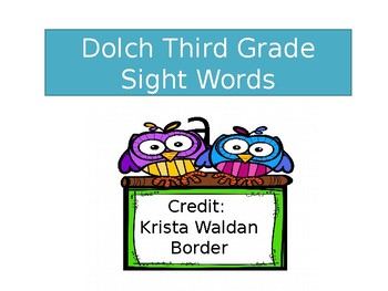 Summer School: Dolch Third Grade Sight Words Timed Assessment