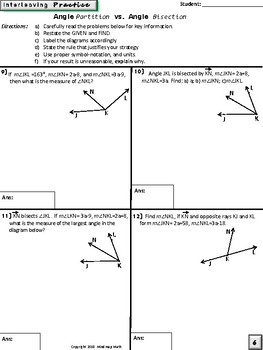 Summer School Geometry Regents Prep: ~ Angle Bisectors vs Partition