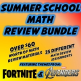 Summer School Math Activity Bundle - Featureing Fortnite and Avengers Themes