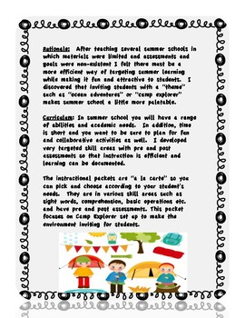Summer School Packet 1 Theme and Set Up