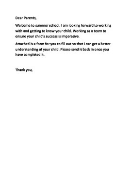 Summer School Parent Letter and Questionnaire