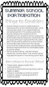 Summer School Participation- Things to Consider