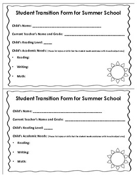 Summer School Program Transition Form for Students & Teachers