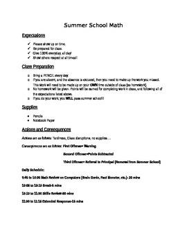 Summer School Rules and Calendar (Math)