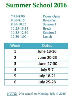 Summer School Schedule (EDITABLE)
