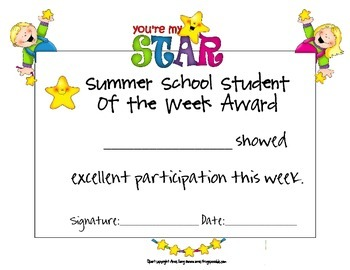 Summer School Student of the Week Award Set
