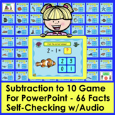 Subtraction PowerPoint Game:  66 Facts to 10!  Ocean Theme